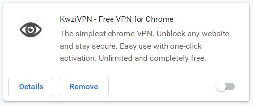 KwziVPN free extension for Google Chrome browser.